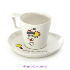 Чашка для завтрака Eclipse с блюдцем,  400 мл, (2 шт.) (Berghoff)