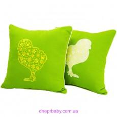 Подушка декоративная 47*47 Вышивка цыплята (Идея)