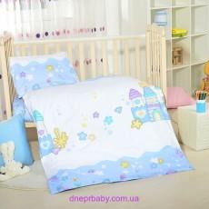 Комплект постельного Домики голубые (Идея)