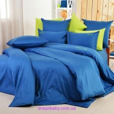Комплект двуспальный-евро Сатин синий пепел (Идея)