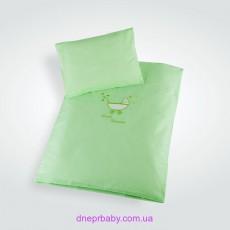 Комплект постельного в коляску зеленый Звездочка (Идея)