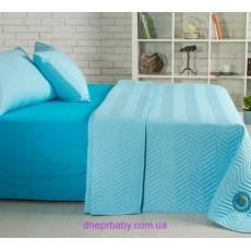 Набор Ретро Горох голубой: летнее одеяло и постельное белье (Идея)