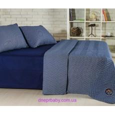 Набор Ретро Горох синий: летнее одеяло и постельное белье (Идея)