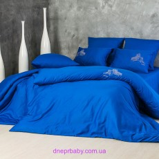 Комплект двуспальный-евро Сатин синий (Идея)