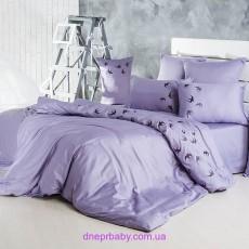 Комплект двуспальный-евро Сатин сиренево-серый (Идея)