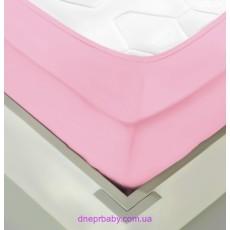 Простынь трикотажная на резинке 180*200 розовая (Идея)