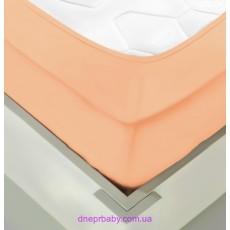 Простынь трикотажная на резинке 180*200 персиковая (Идея)