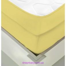 Простынь трикотажная на резинке 180*200 желтая (Идея)