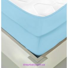 Простынь трикотажная на резинке 180*200 голубая (Идея)