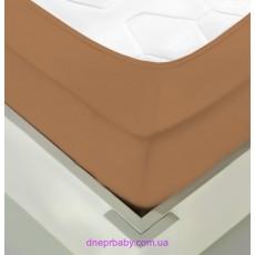 Простынь трикотажная на резинке 200*200 кофе с молоком (Идея)